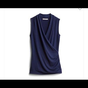 41 Hawthorn Navy Benni Wrap front ruched knit top